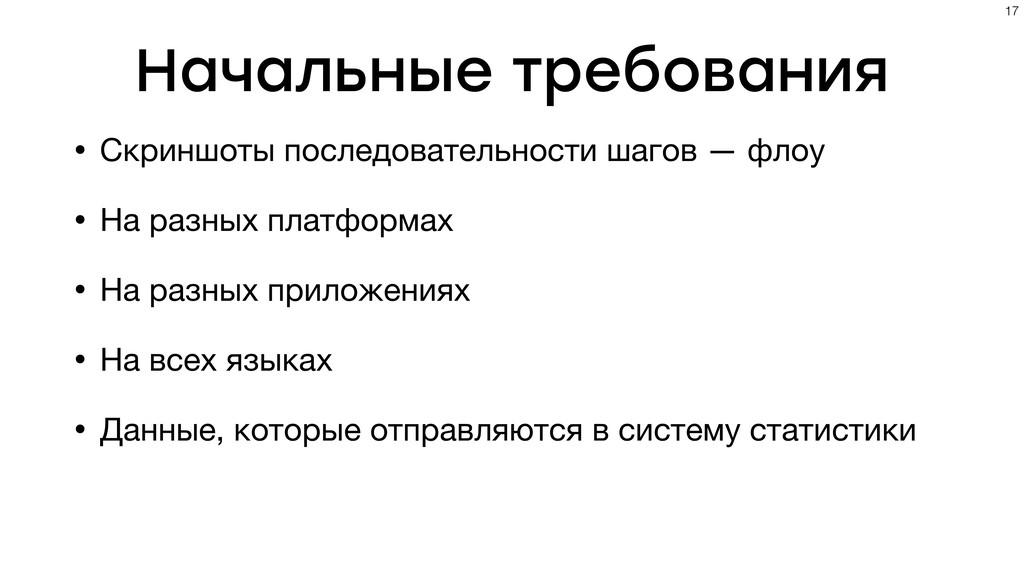 Начальные требования • Скриншоты последовательн...
