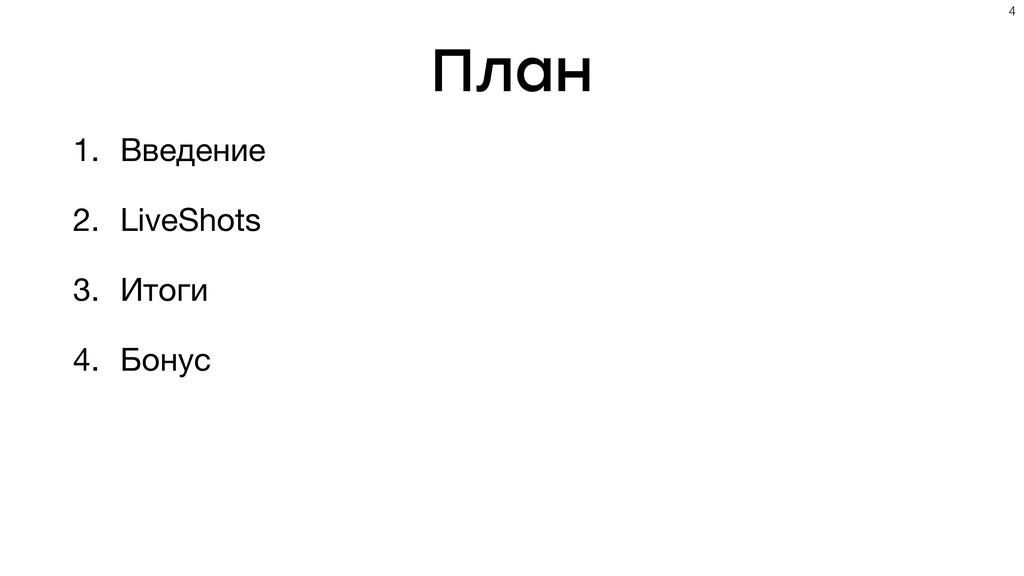 План 1. Введение  2. LiveShots  3. Итоги  4. Бо...