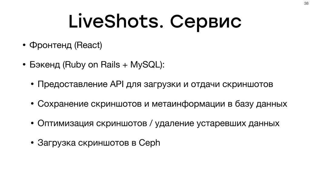 LiveShots. Сервис • Фронтенд (React) • Бэкенд (...