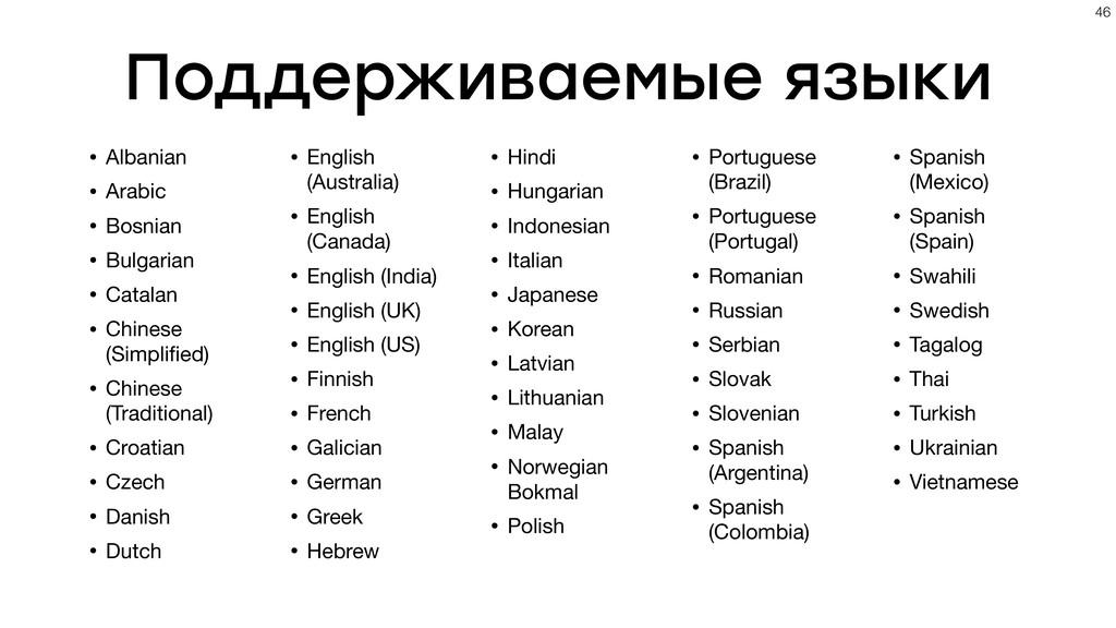 Поддерживаемые языки • Albanian  • Arabic  • Bo...