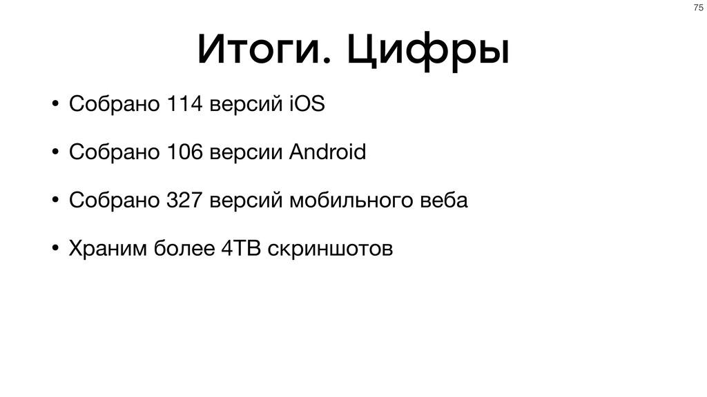 Итоги. Цифры • Собрано 114 версий iOS • Собрано...