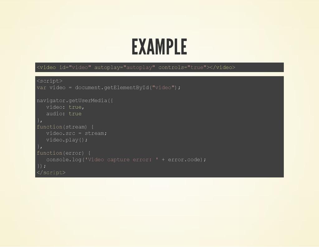 "EXAMPLE < v i d e o i d = "" v i d e o "" a u t o..."