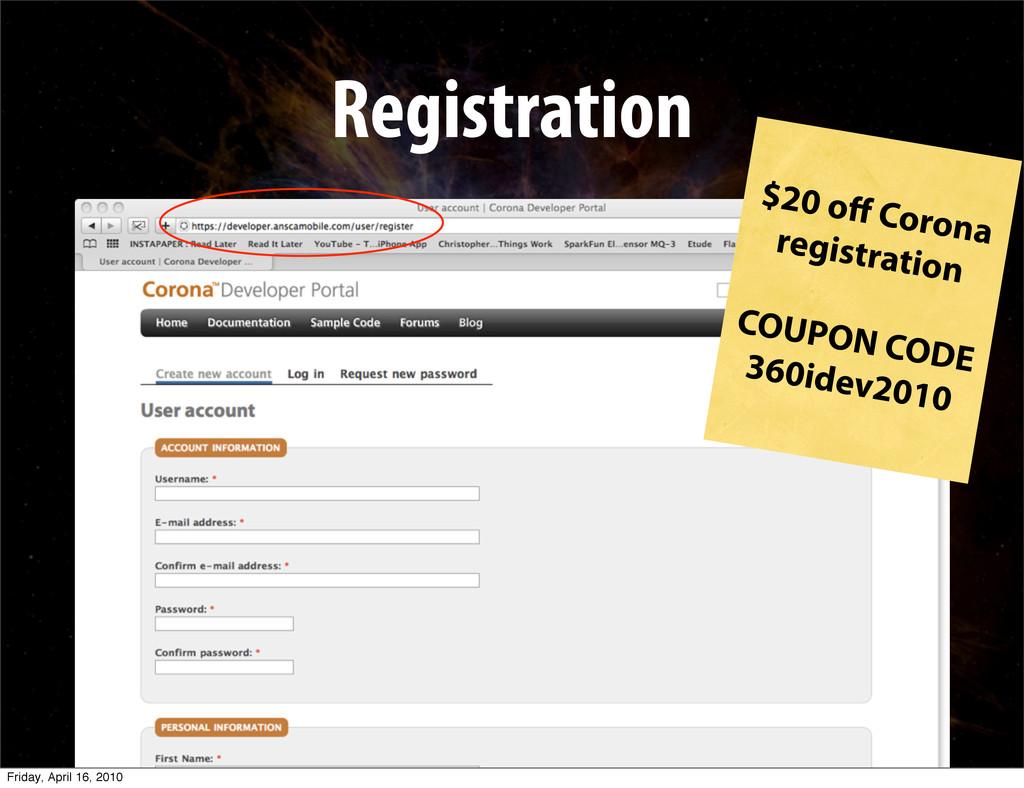 Registration $20 off Corona registration COUPON ...