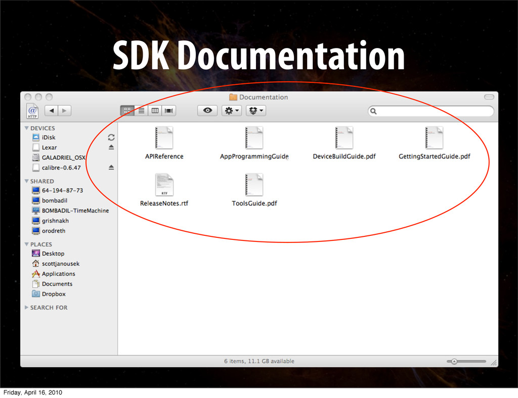 SDK Documentation ` Friday, April 16, 2010
