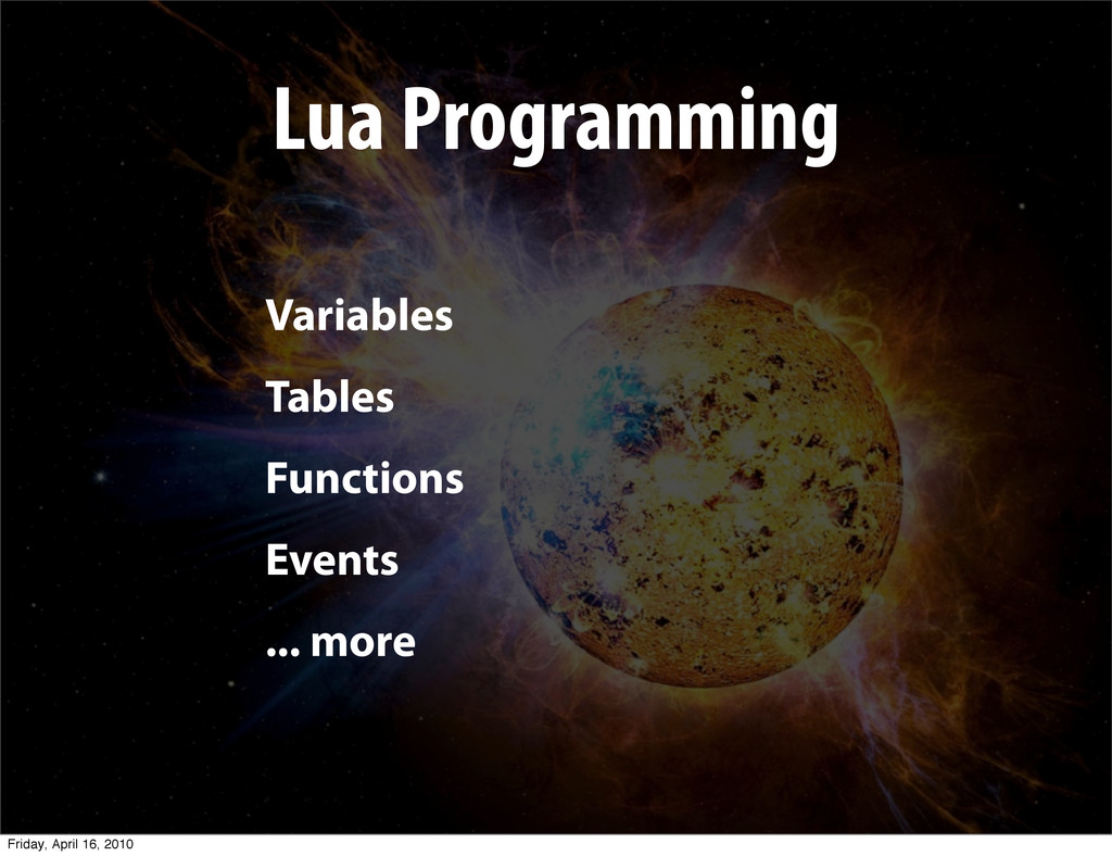Lua Programming Variables Tables Functions Even...