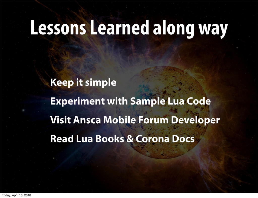 Lessons Learned along way Keep it simple Experi...
