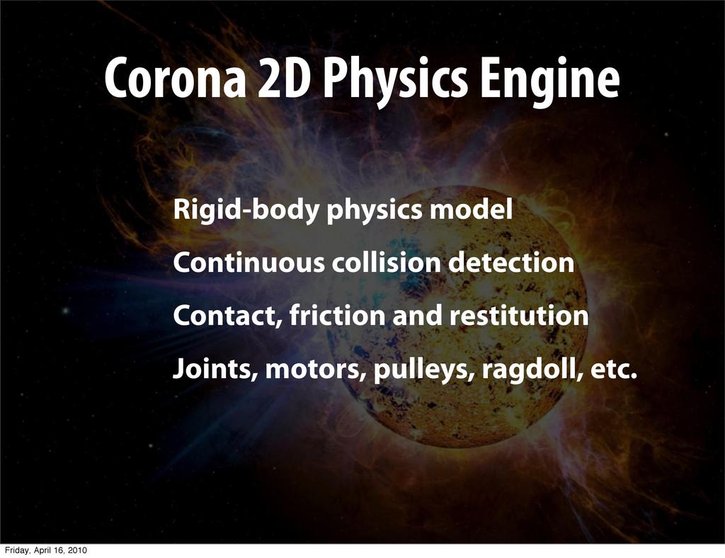 Corona 2D Physics Engine Rigid-body physics mod...