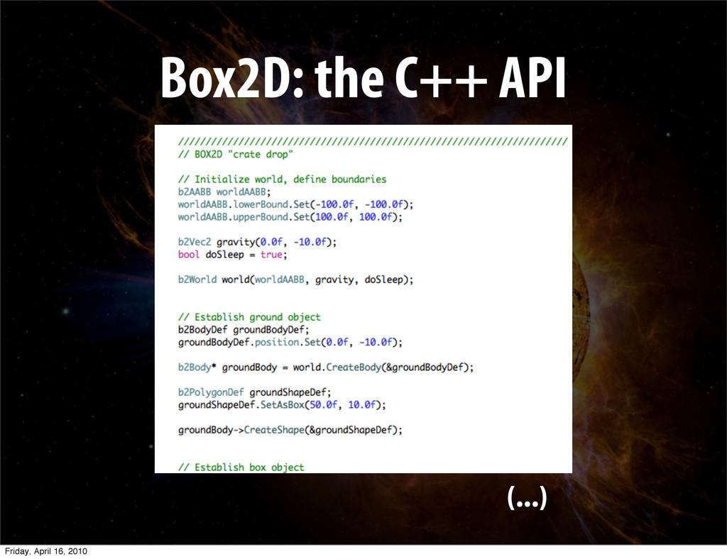 Box2D: the C++ API (...) Friday, April 16, 2010
