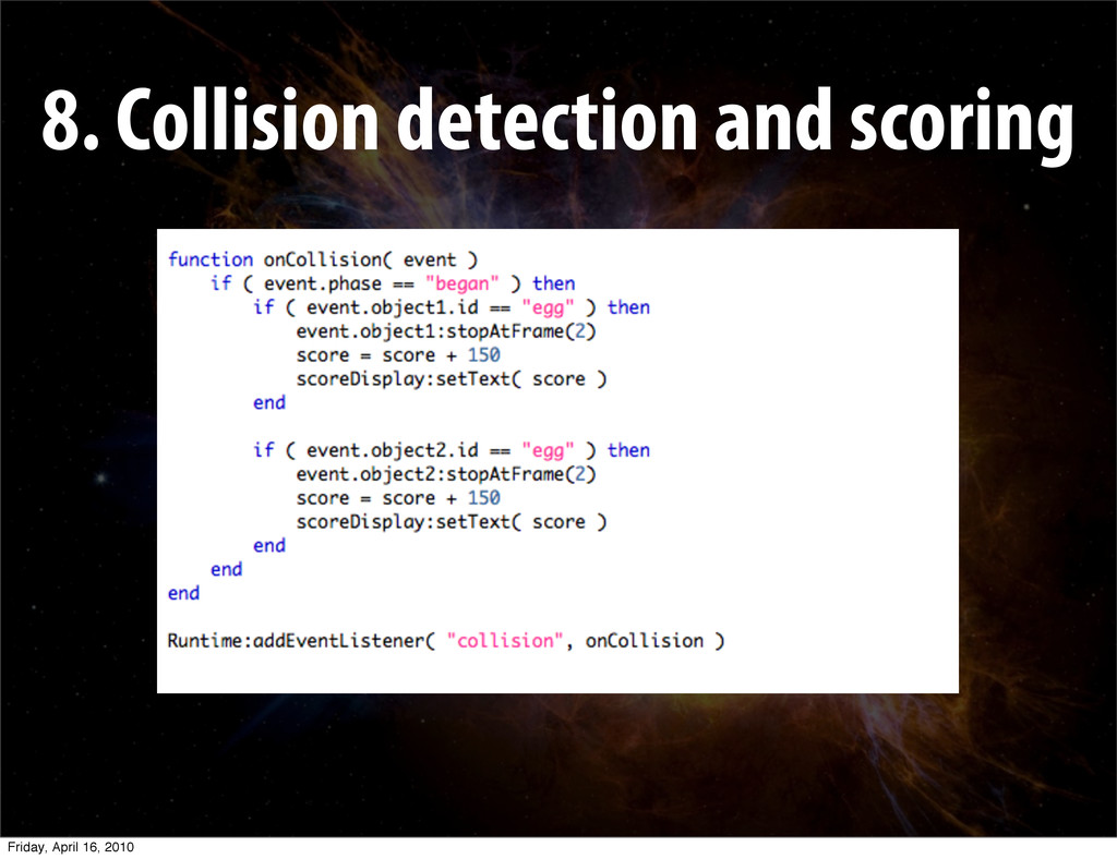 8. Collision detection and scoring Friday, Apri...