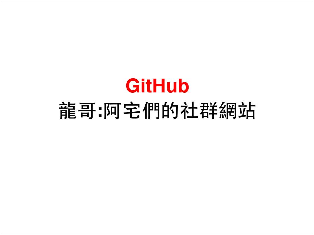 GitHub ⻯⿓龍哥:阿宅們的社群網站
