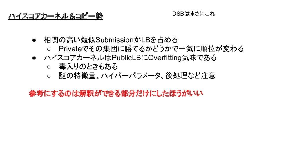 ハイスコアカーネル&コピー勢 ● 相関の高い類似SubmissionがLBを占める ○ Pri...