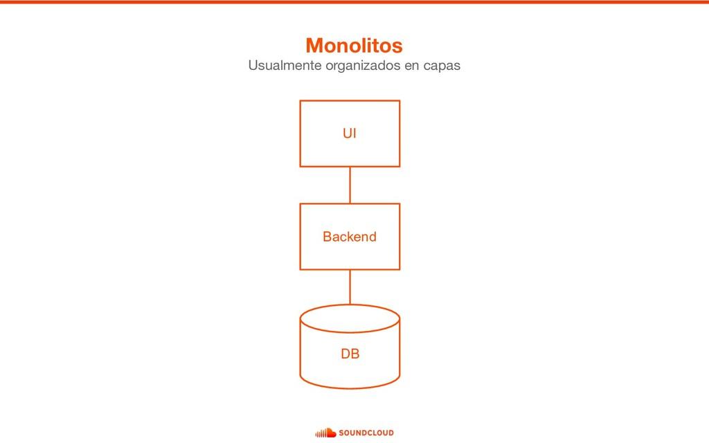 Monolitos Usualmente organizados en capas Backe...