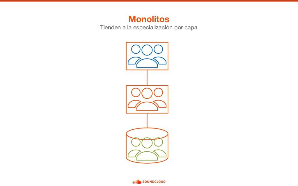 Monolitos Tienden a la especialización por capa