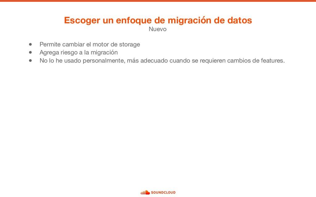 ● Permite cambiar el motor de storage  ● Agrega...