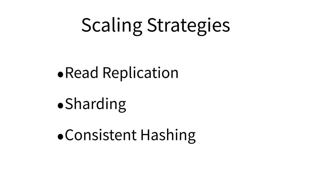 Scaling Strategies •Read Replication •Sharding ...