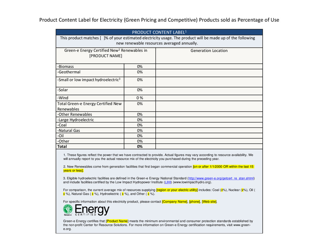 Product Content Label for Electricity (Green Pr...