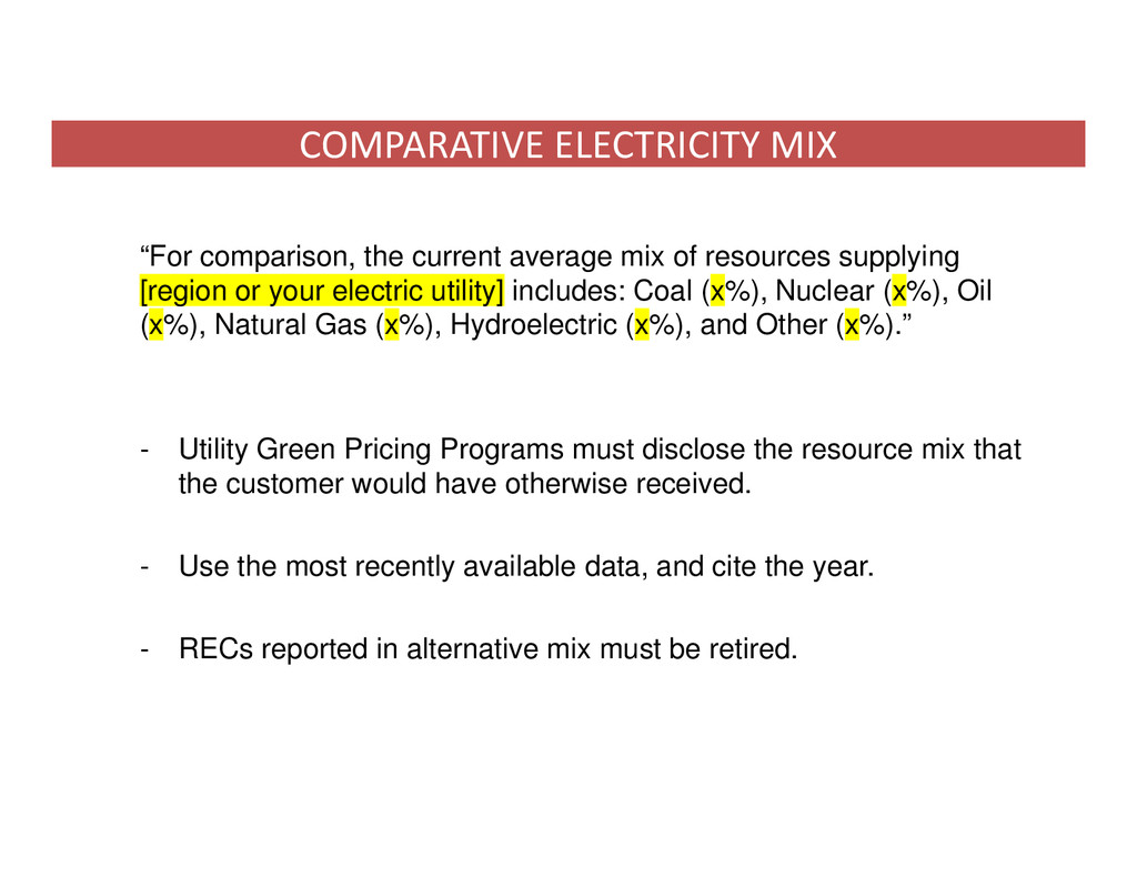 """""""For comparison, the current average mix of res..."""