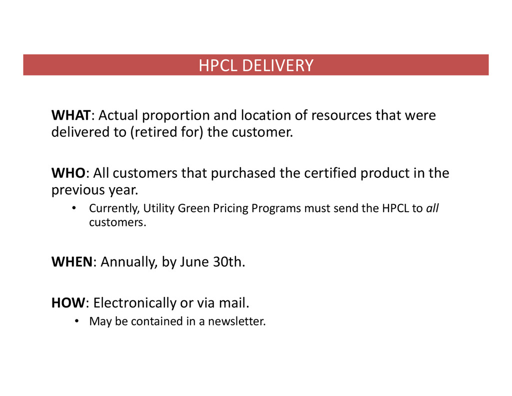 HPCL DELIVERY WHAT: Actual proportion and locat...