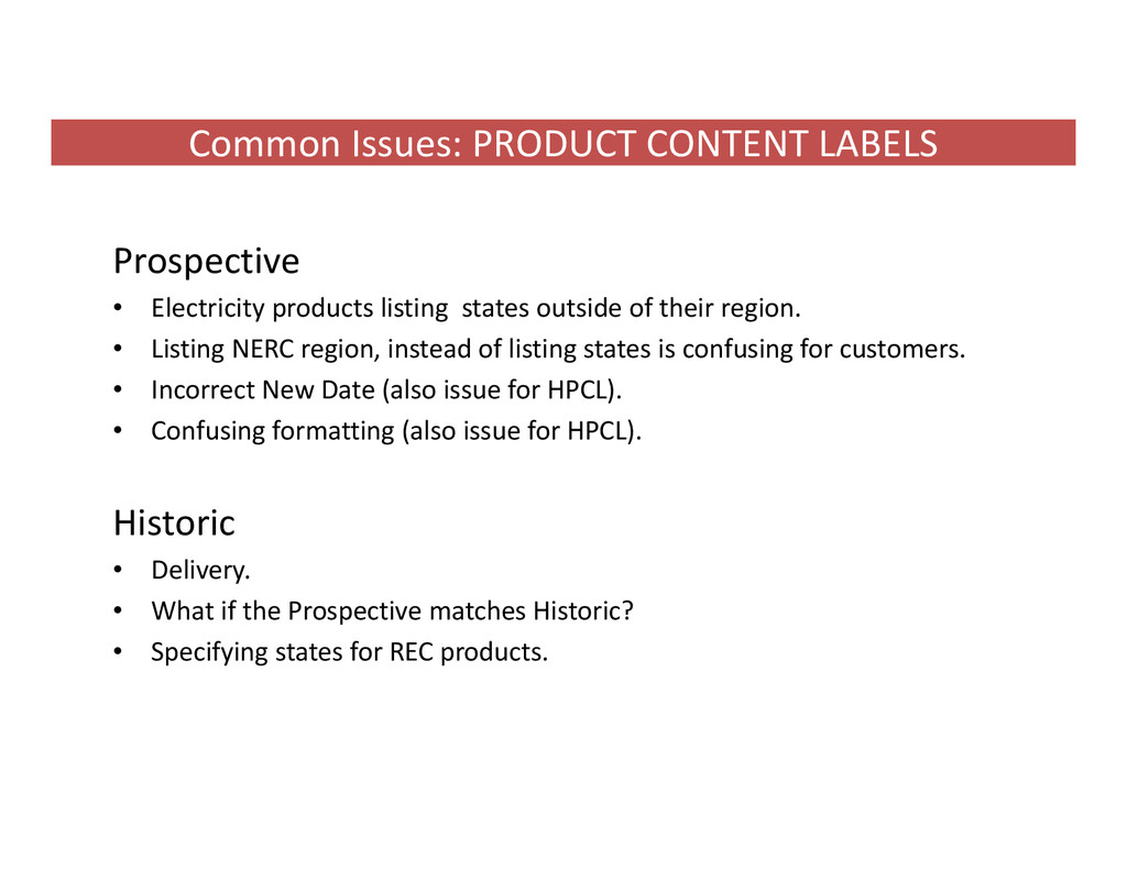 Common Issues: PRODUCT CONTENT LABELS Prospecti...