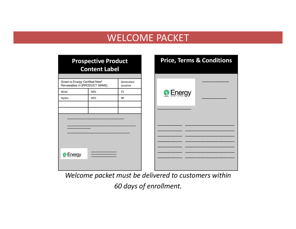 WELCOME PACKET Welcome packet must be delivered...