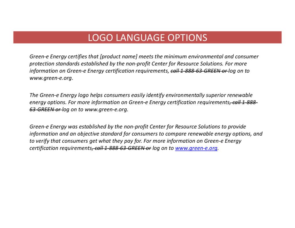 LOGO LANGUAGE OPTIONS Green‐e Energy certifies ...