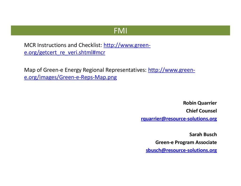 FMI MCR Instructions and Checklist: http://www....