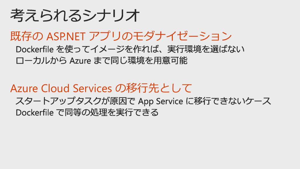 既存の ASP.NET アプリのモダナイゼーション Azure Cloud Services ...
