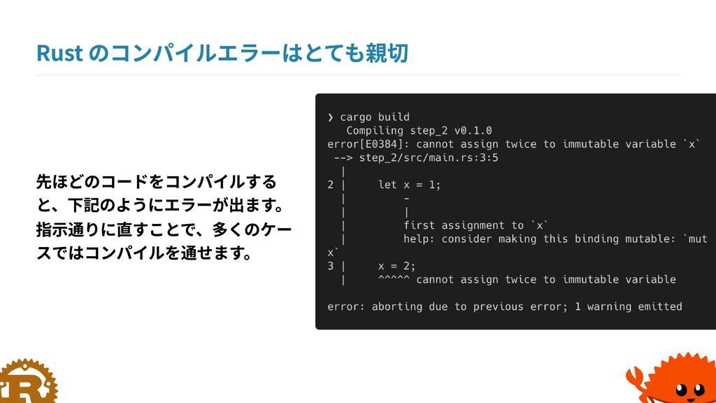 Rust のコンパイルエラーはとても親切 先ほどのコードをコンパイルする と、下記のようにエラ...