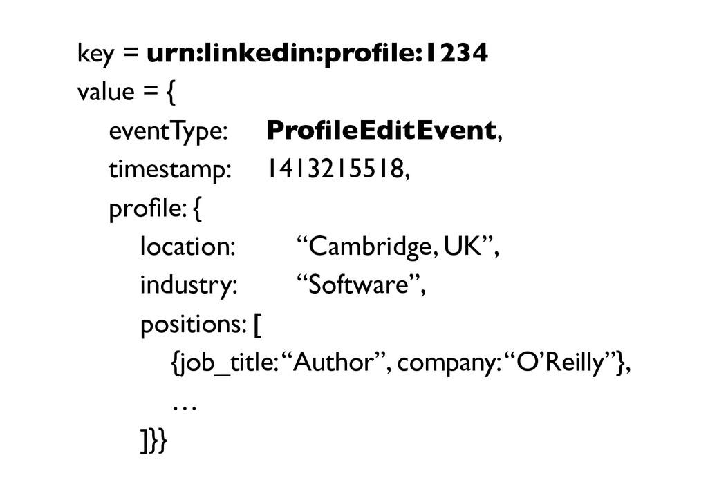 key = urn:linkedin:profile:1234  value = {  ...