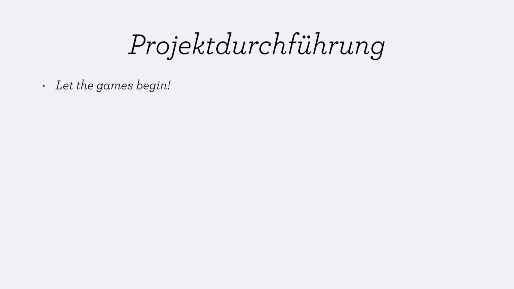 Projektdurchführung • Let the games begin!