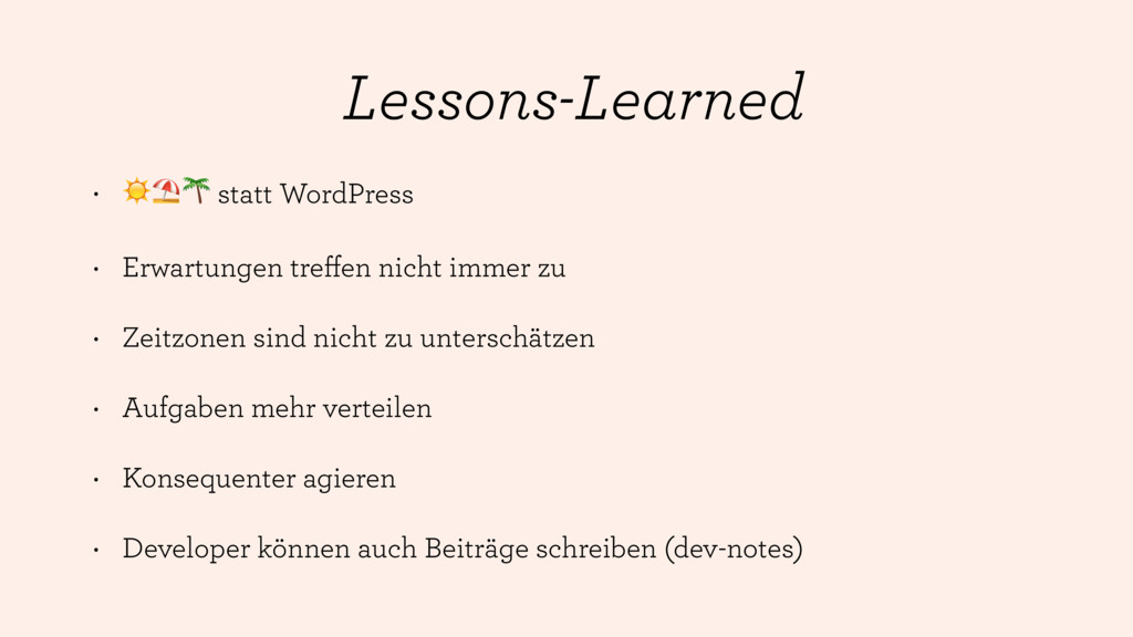 Lessons-Learned • ☀⛱ statt WordPress • Erwartun...