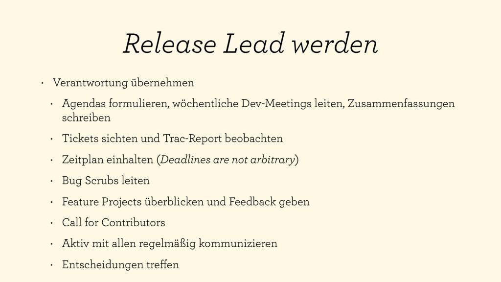 Release Lead werden • Verantwortung übernehmen ...