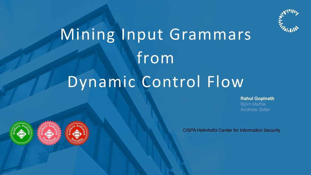 Mining Input Grammars from Dynamic Control Flow...