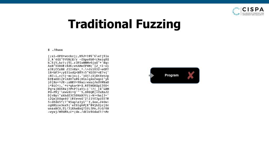 Traditional Fuzzing $ ./fuzz [;x1-GPZ+wcckc];,N...
