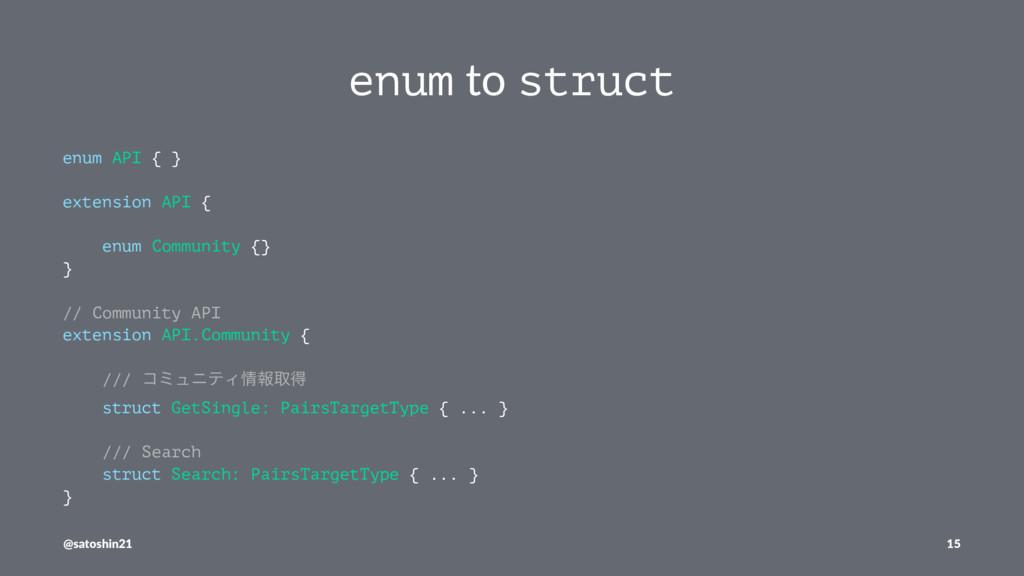 enum to struct enum API { } extension API { enu...