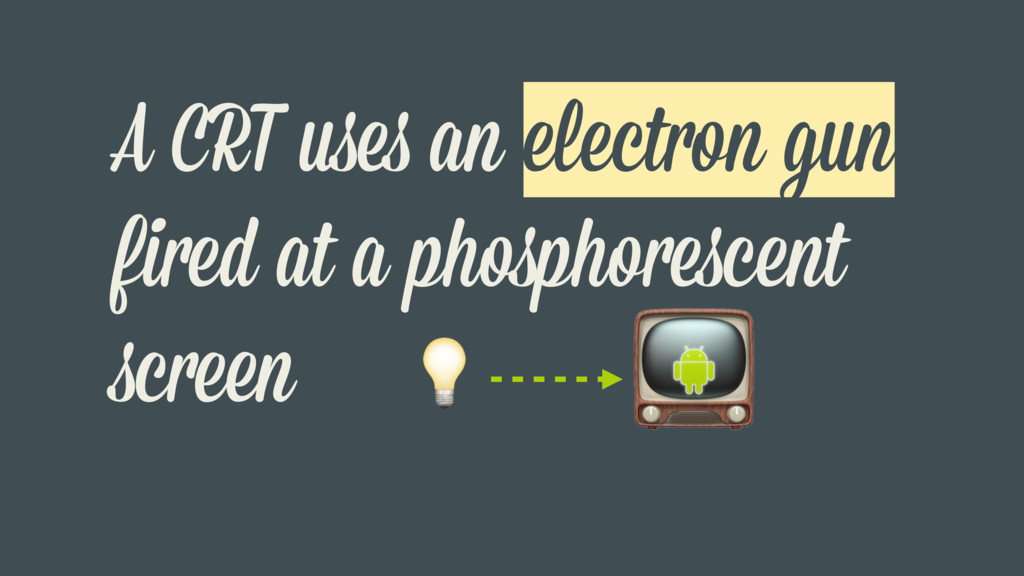 A CRT uses an electron gun fired at a phosphore...
