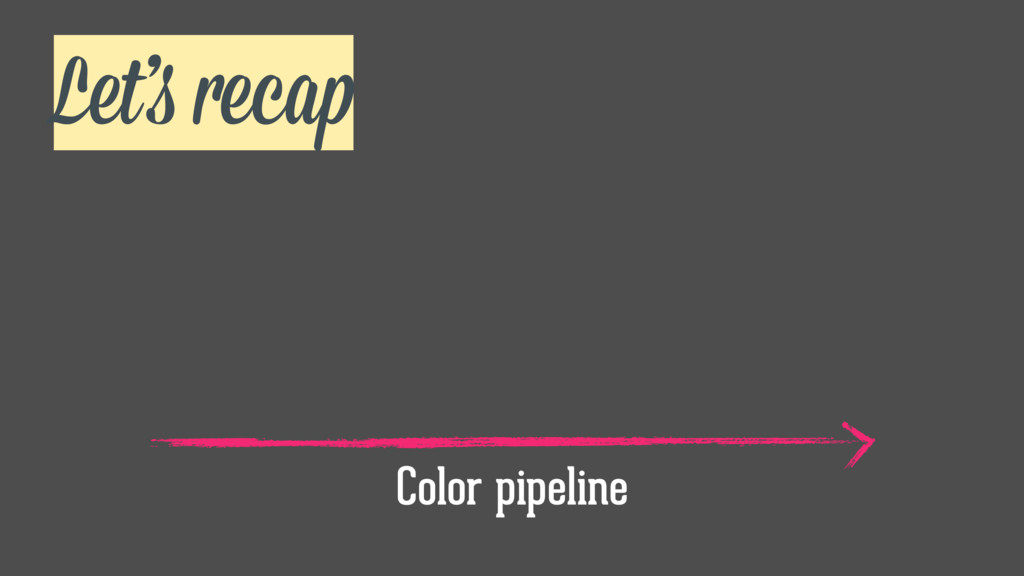 Let's recap Color pipeline