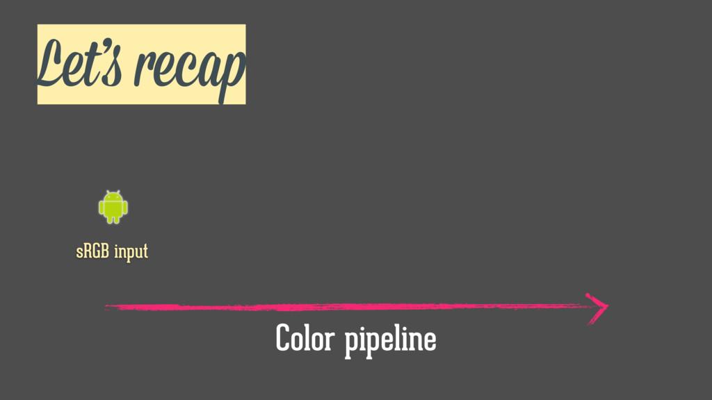 Let's recap sRGB input Color pipeline