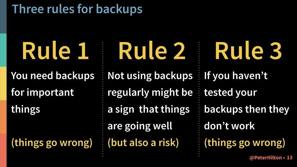 Three rules for backups Rule 1 You need backups...