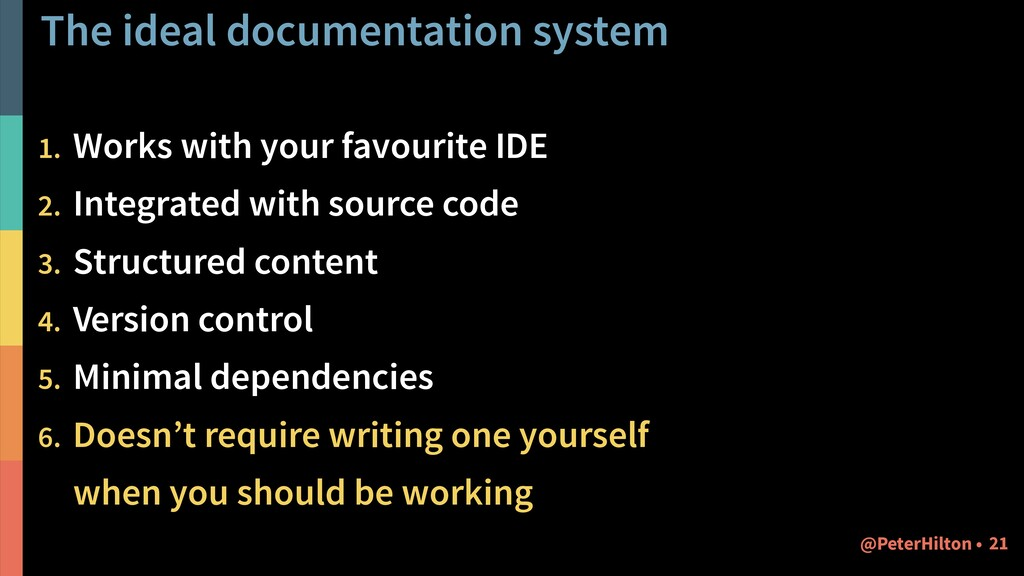 The ideal documentation system 1. Works with yo...