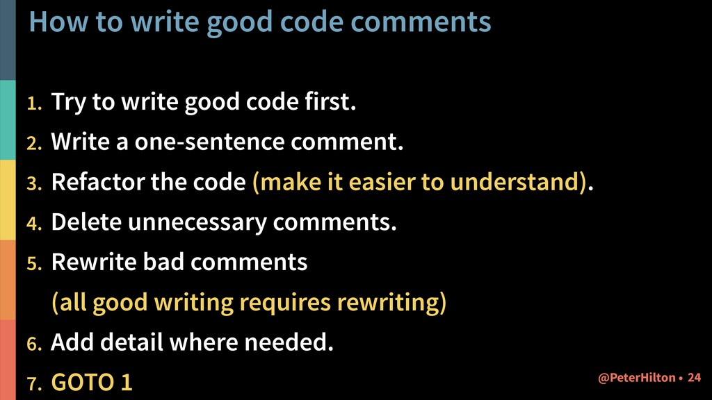 How to write good code comments 1. Try to write...