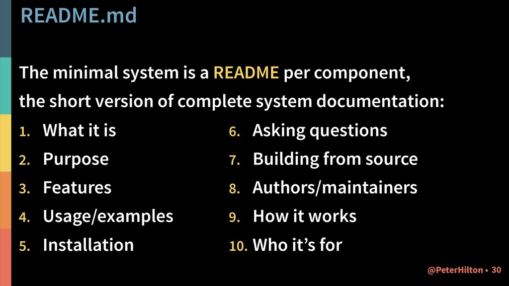 README.md The minimal system is a README per co...