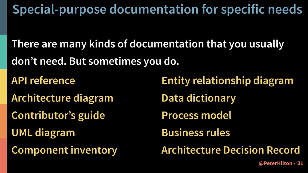 Special-purpose documentation for specific need...