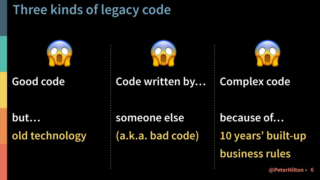 Three kinds of legacy code  Good code but… old ...