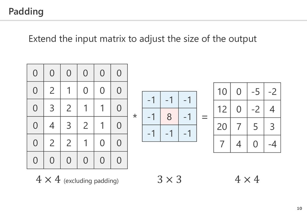 Padding 10 Extend the input matrix to adjust th...