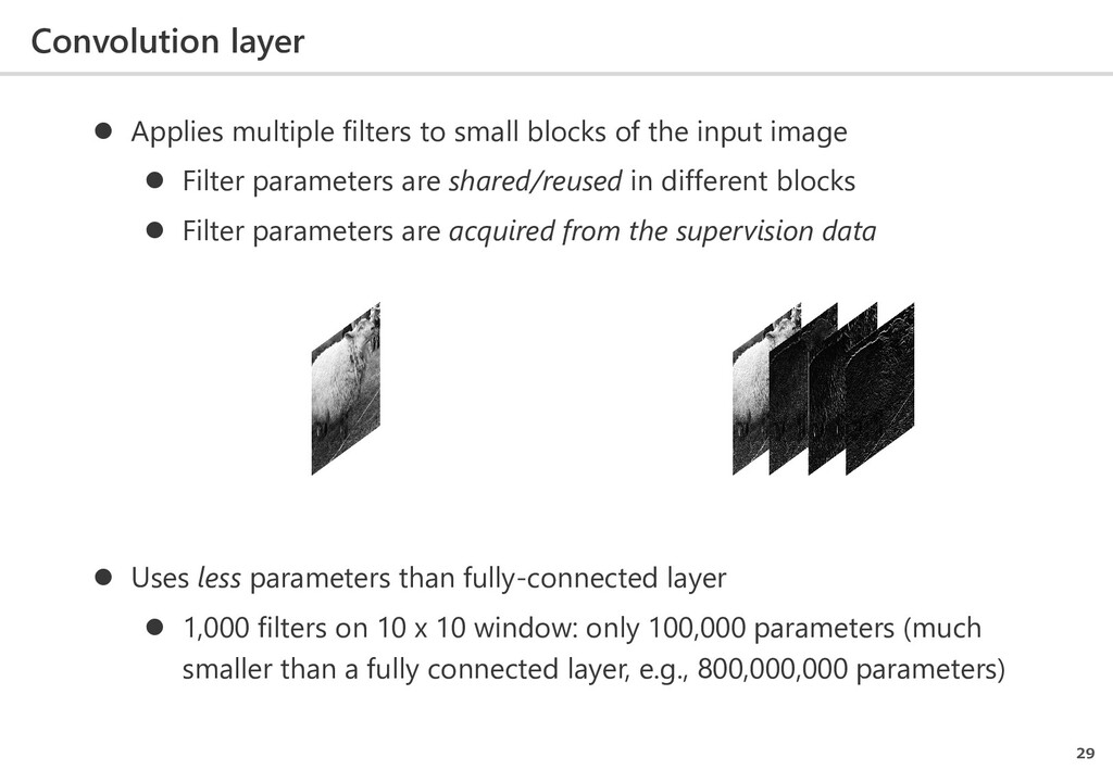 Convolution layer 29  Applies multiple filters...