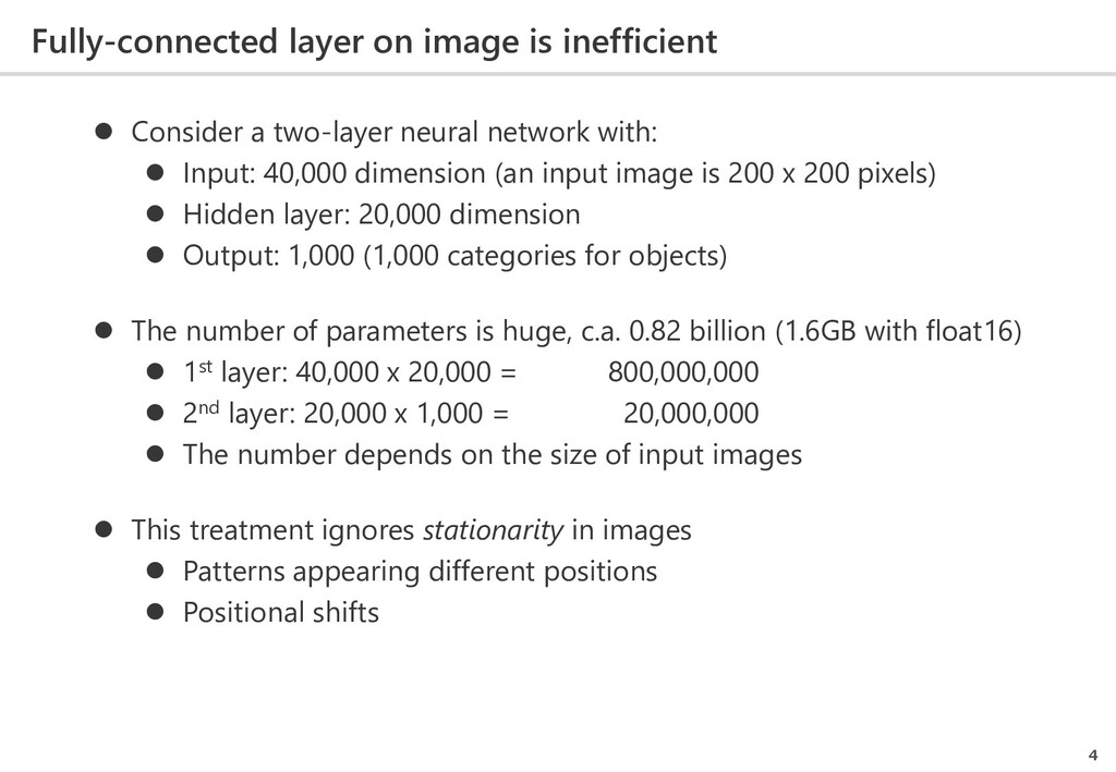 Fully-connected layer on image is inefficient 4...