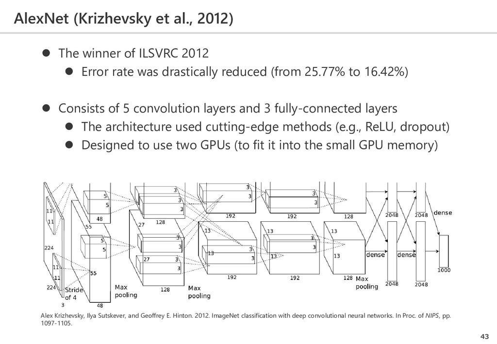 AlexNet (Krizhevsky et al., 2012) 43  The winn...