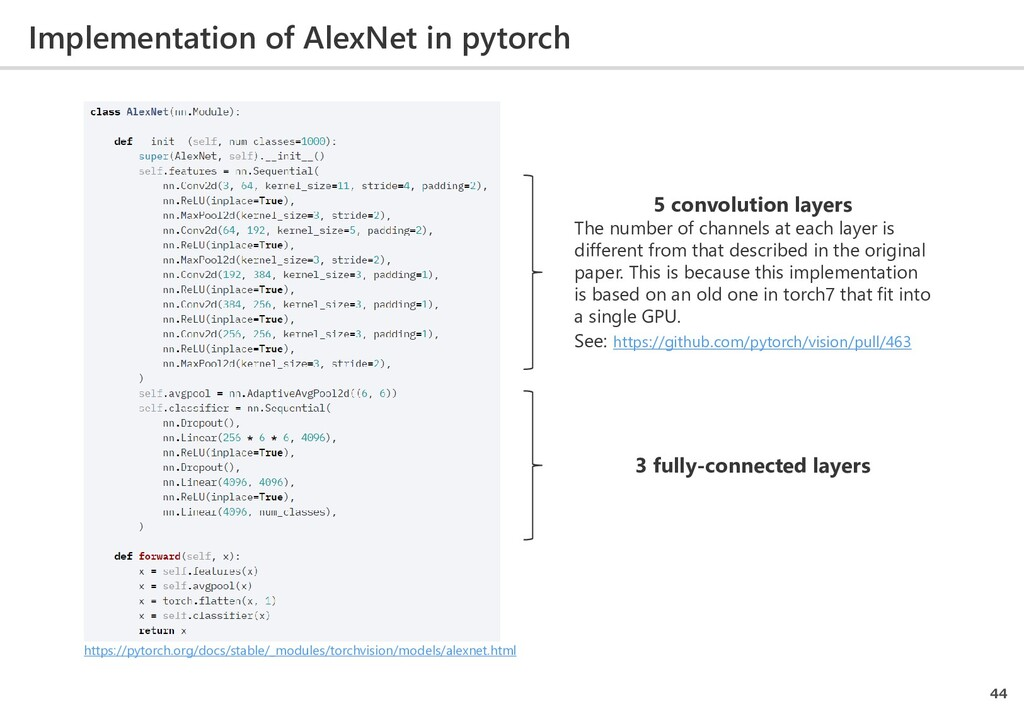 Implementation of AlexNet in pytorch 44 https:/...