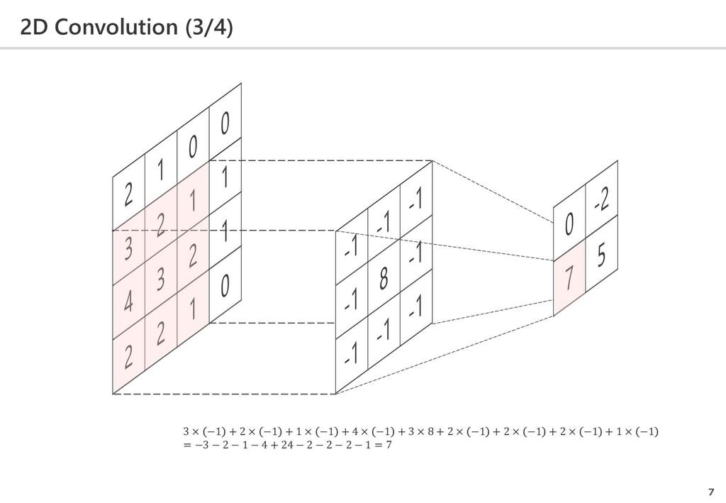 2D Convolution (3/4) 7 3 × −1 + 2 × −1 + 1 × −1...